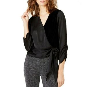 I-N-C Womens Velvet Wrap Blouse, Black